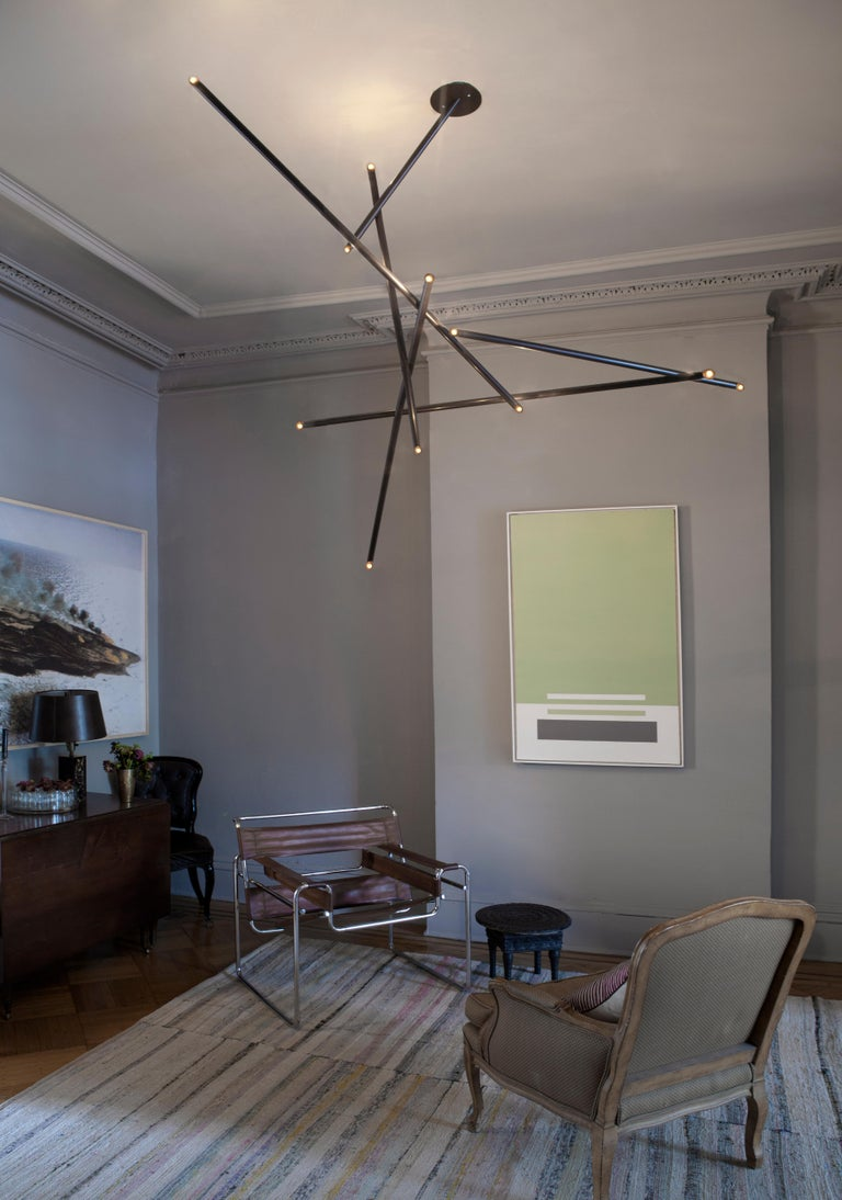 6-Stick Chandelier in Brass by Cam Crockford In New Condition For Sale In Brooklyn, NY