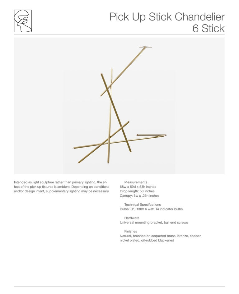 Contemporary 6-Stick Chandelier in Brass by Cam Crockford For Sale