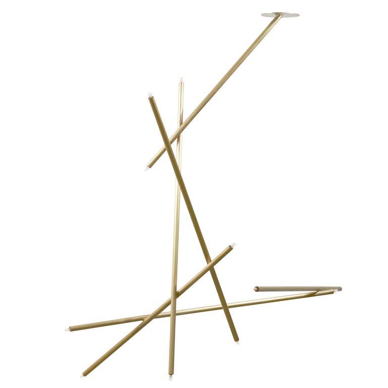 For Sale: Gold (Burnished Brass) 6-Stick Chandelier in Brass by Cam Crockford