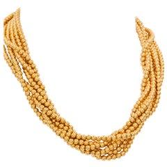 6-strängige Perlenhalskette aus 14 Karat Gelbgold
