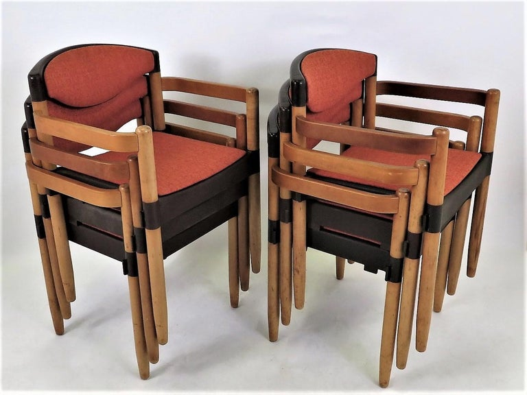 Mid-Century Modern 6 Strax Dining Chairs by Casala / Germany 1970s by Harmut Lohmeyer For Sale