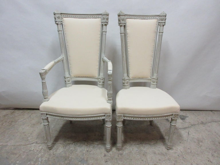This is a set of 6 Swedish Gustavian dining chairs. They have been restored and repainted with milk paints