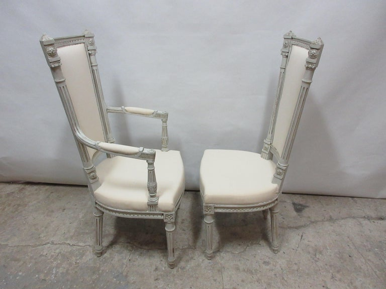 6 Swedish Gustavian Dining Chairs In Distressed Condition For Sale In Hollywood, FL
