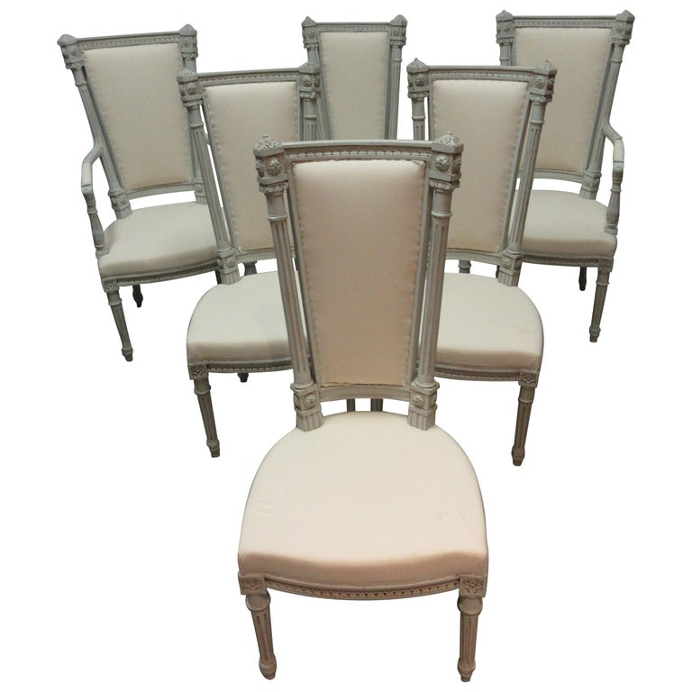 6 Swedish Gustavian Dining Chairs For Sale