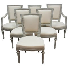 6 Swedish Gustavian Dining Room Chairs
