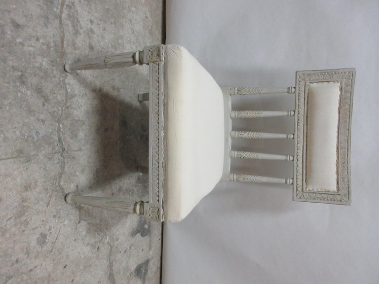 This is a set of 6 Swedish Gustavian side chairs. They have been restored and repainted with milk paints