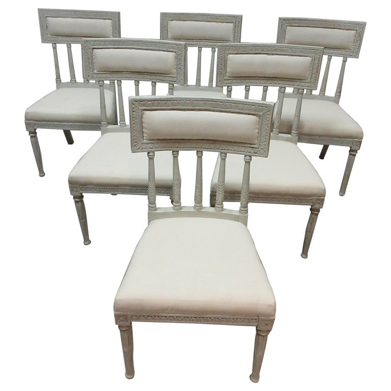 6 Swedish Gustavian Side Chairs For Sale