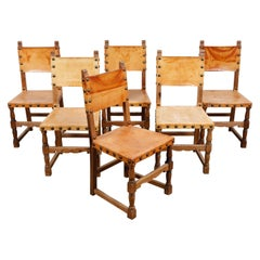 6 Swedish Solid Pine 1970s Dining Chairs with Original Leather Backs and Seats