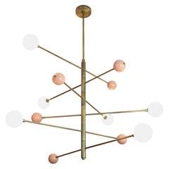 """6-Tier """"Orbital"""" Chandelier in Blush Enamel, Glass & Brass by Blueprint Lighting"""