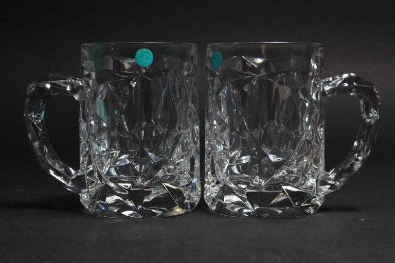 6 Tiffany & Co. rock cut crystal beer mugs. Each piece is marked Tiffany & Co. in original box.