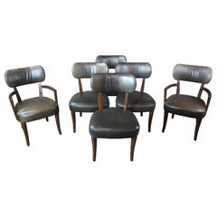 6 Traditional Henredon Acquisitions Green Leather and Mahogany Nailhead Chairs