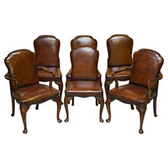 6 Victorian 1880 Walnut Shepherds Crook Hand Dyed Brown Leather Dining Chairs