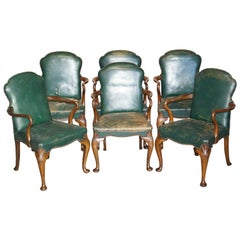 6 Victorian Walnut Green Period Leather Upholstery Shepherds Crook Dining Chairs