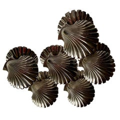 6 Vintage 1940s-1950s Silver Plated Shells, Place Card Holders, Fratelli Broggi