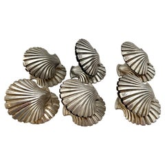 6 Vintage 1940s-1950s Silver Plated Shells Place Card Holders, Fratelli Broggi