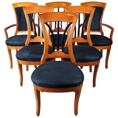 6 Vintage 1990s National Mt Airy Maple Ebonized Biedermeier Style Dining Chairs