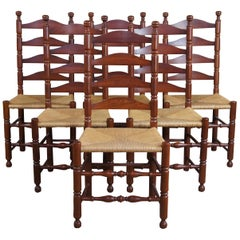 6 Vintage Amish Shaker Cherry Ladder Back Rush Dining Chairs Country Farmhouse