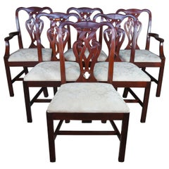 6 Vintage Baker Chippendale Style Pretzel Back Mahogany Dining Chairs