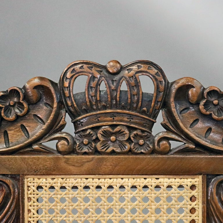Gothic Revival 6 Vintage Carved Walnut Gothic Style Dining Chairs by Kittinger, 20th Century  For Sale