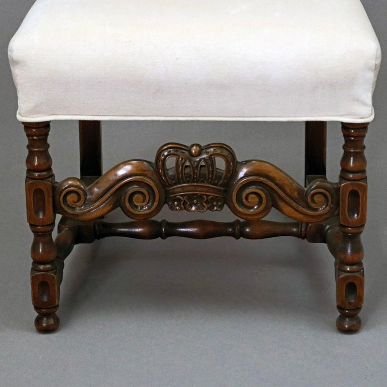 6 Vintage Carved Walnut Gothic Style Dining Chairs by Kittinger, 20th Century  In Good Condition For Sale In Big Flats, NY