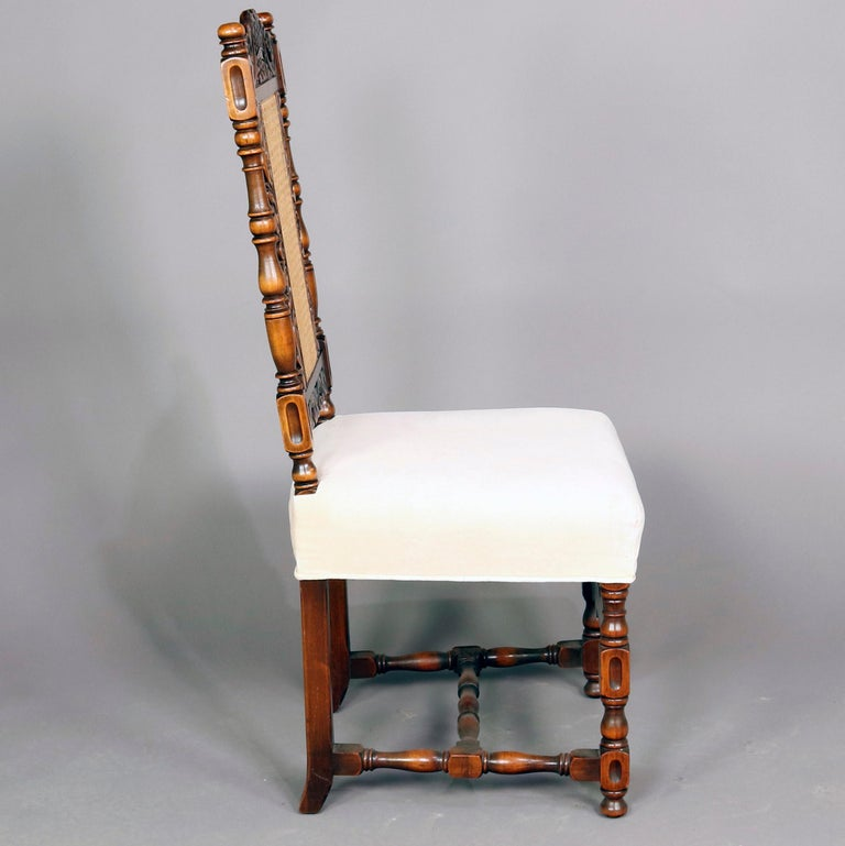Upholstery 6 Vintage Carved Walnut Gothic Style Dining Chairs by Kittinger, 20th Century  For Sale