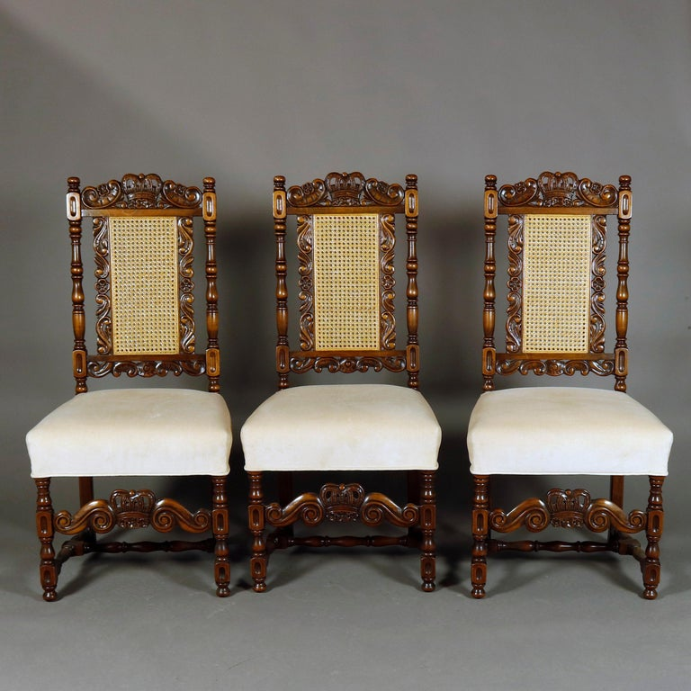 6 Vintage Carved Walnut Gothic Style Dining Chairs by Kittinger, 20th Century  For Sale 1