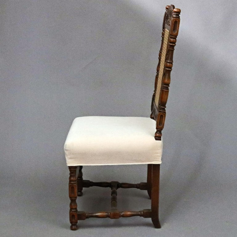6 Vintage Carved Walnut Gothic Style Dining Chairs by Kittinger, 20th Century  For Sale 2