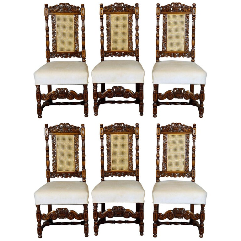 6 Vintage Carved Walnut Gothic Style Dining Chairs by Kittinger, 20th Century  For Sale