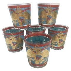 6 Vintage Cera Glassware Old Fashioned Glasses, Regimental Drum