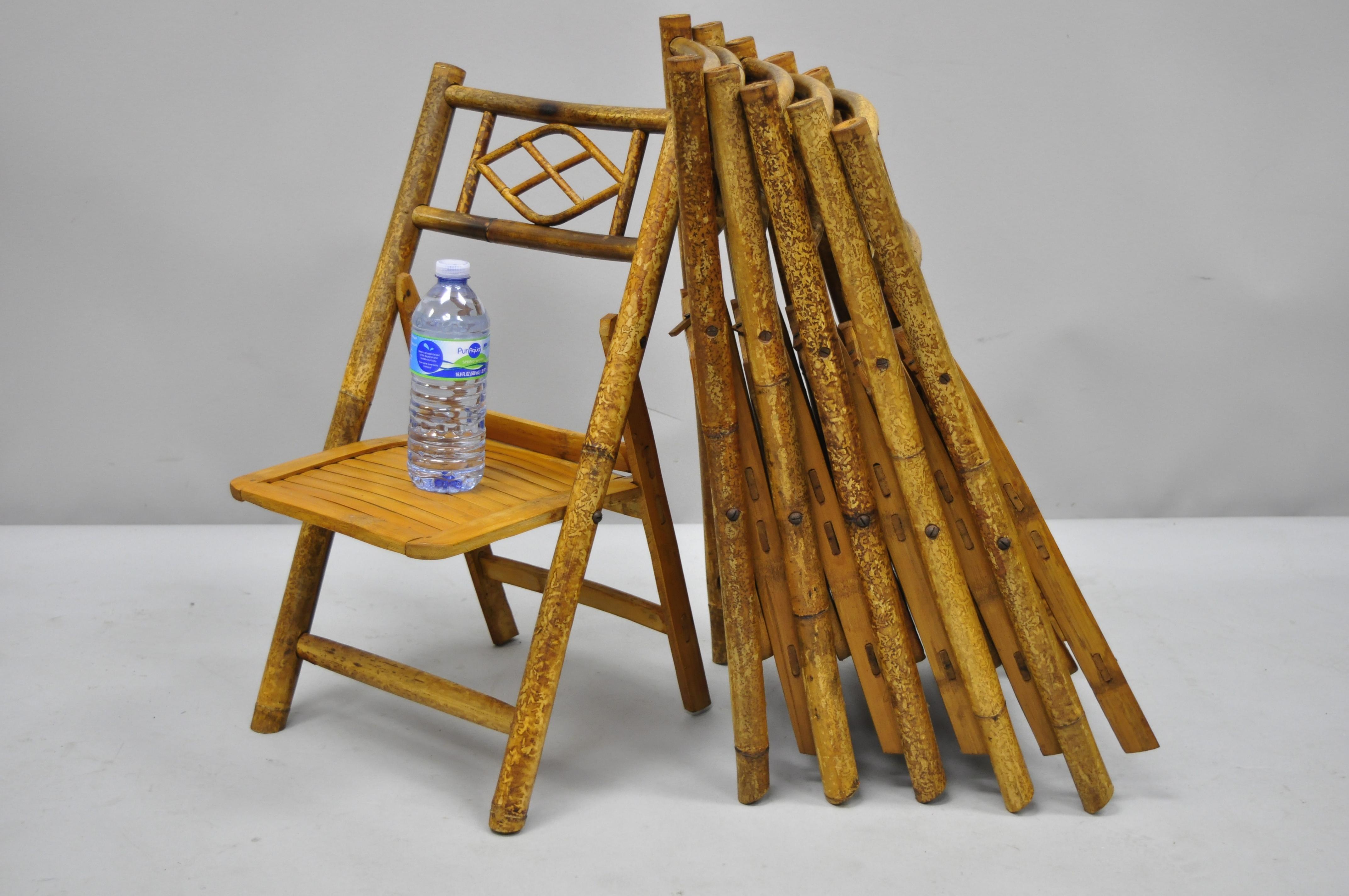 6 Vintage Childrens Bamboo Folding Chairs Tiki Rattan Cane Furniture
