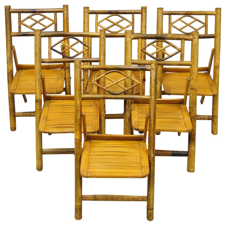 6 Vintage Childrens Bamboo Folding Chairs Tiki Rattan Cane Furniture