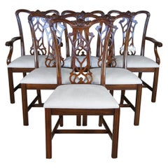 6 Vintage Drexel Heritage Devoncourt Mahogany Chippendale Dining Side Arm Chairs