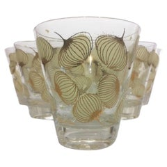 6 Vintage Fred Press Double Old Fashioned Glasses with Tan Enamel and 22k Gold
