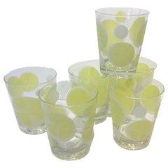6 Vintage Lemon Design Double Old Fashioned Glasses, Signed Fred Press