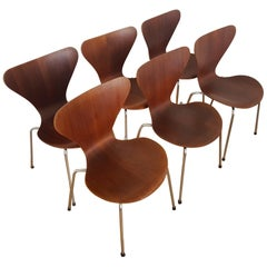 6 Vintage Series 7 Chairs 3107 in Teak 1960s by Arne Jacobsen for Fritz Hansen