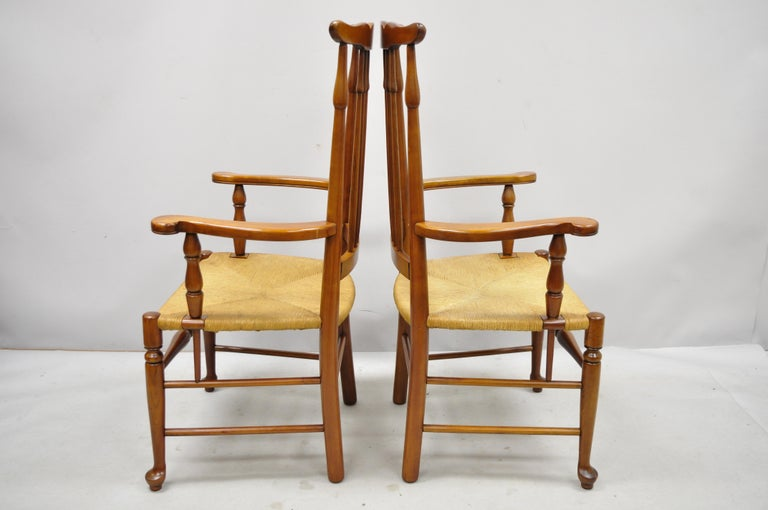 6 Vintage Spindle Back Cherrywood Rush Seat Queen Anne Colonial Dining Chairs For Sale 5