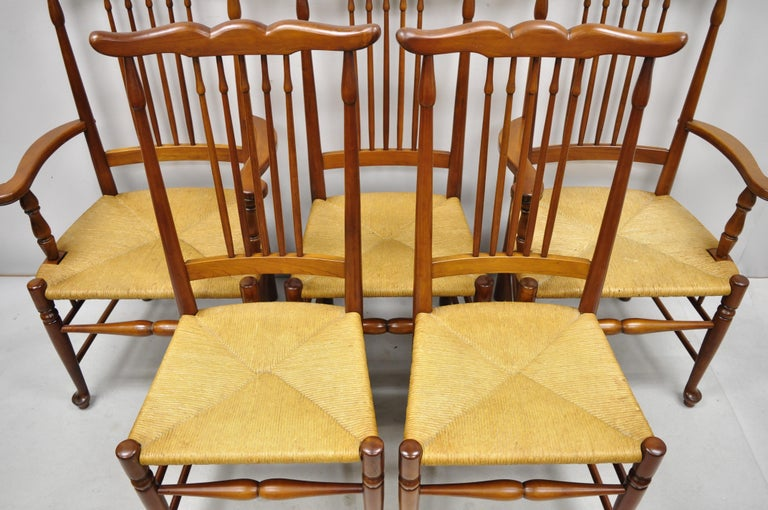 6 Vintage Spindle Back Cherrywood Rush Seat Queen Anne Colonial Dining Chairs For Sale 6