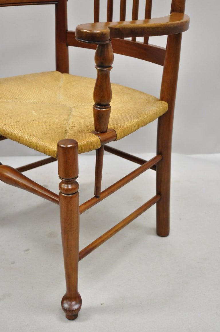 6 Vintage Spindle Back Cherrywood Rush Seat Queen Anne Colonial Dining Chairs For Sale 1
