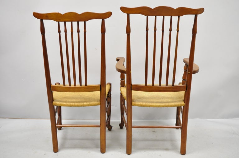6 Vintage Spindle Back Cherrywood Rush Seat Queen Anne Colonial Dining Chairs For Sale 4