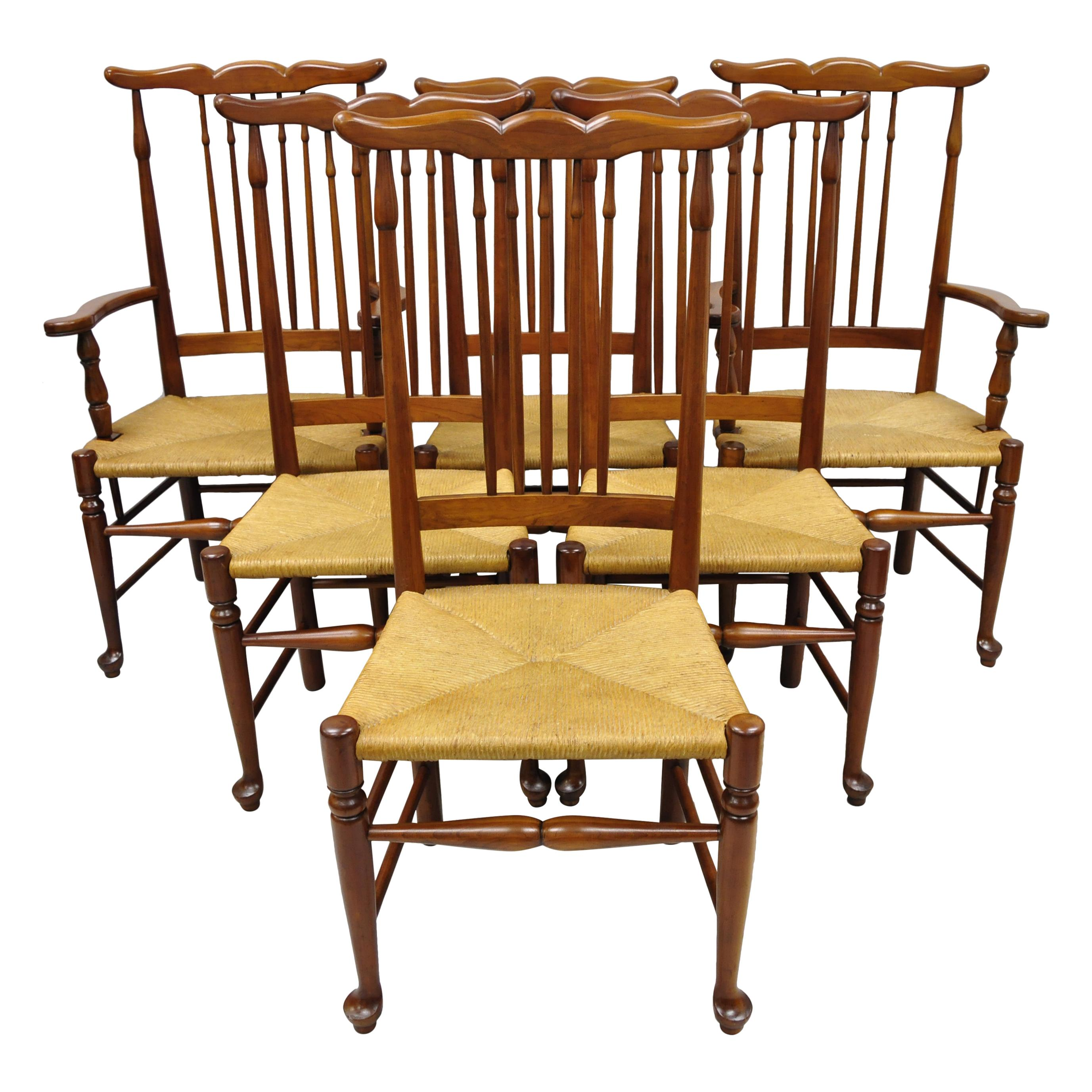 6 Vintage Spindle Back Cherrywood Rush Seat Queen Anne Colonial Dining Chairs