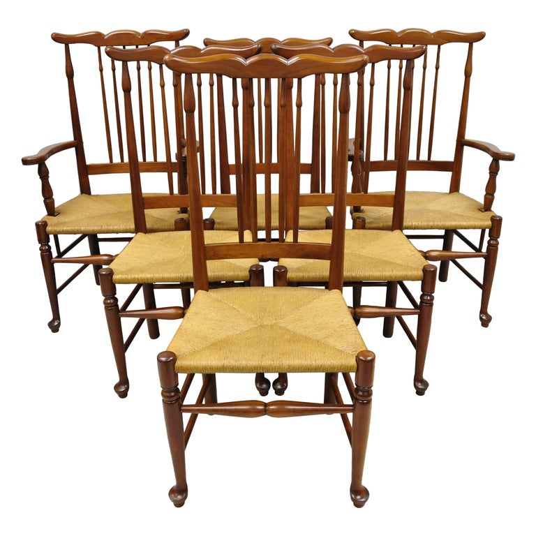 6 Vintage Spindle Back Cherrywood Rush Seat Queen Anne Colonial Dining Chairs For Sale