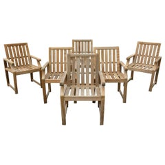 6 Vintage Teak Wood Outdoor Dining Armchairs