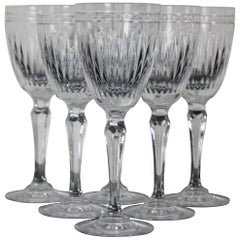 6 Waterford Crystal Hanover Clear Trim Wine Glasses Goblets Marquis