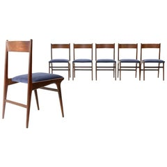 6 Wood and Blue Velvet Italian Dining Chairs, 1950s