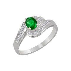 Natural Brazilian Emerald & Diamond Ring 18 Karat White Gold