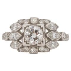 .60 Carat Art Deco Diamond Platinum Engagement Ring