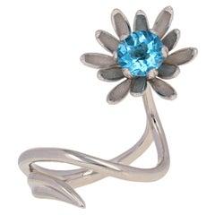 .60 Carat Checkerboard Cut Round Blue Topaz Ring, 14 Karat Gold Flower Bypass