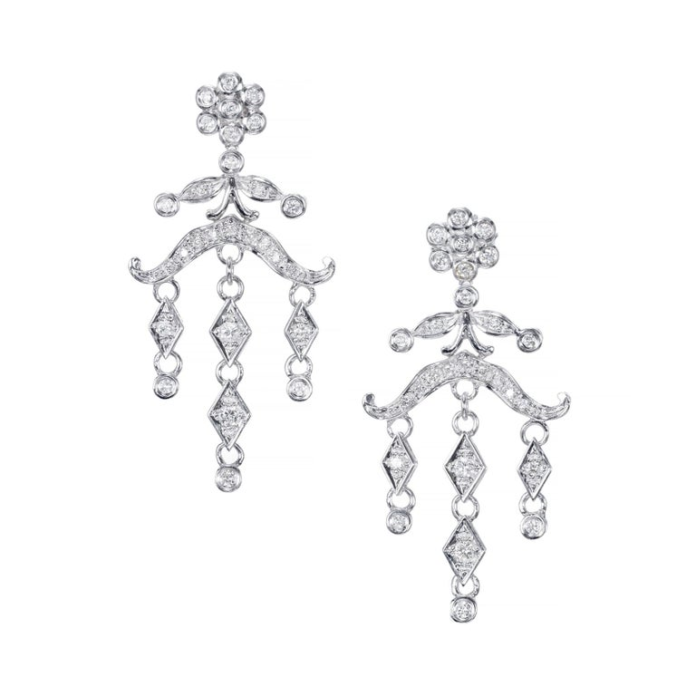 .60 Carat Diamond Chandelier Dangle Drop Earrings For Sale 1
