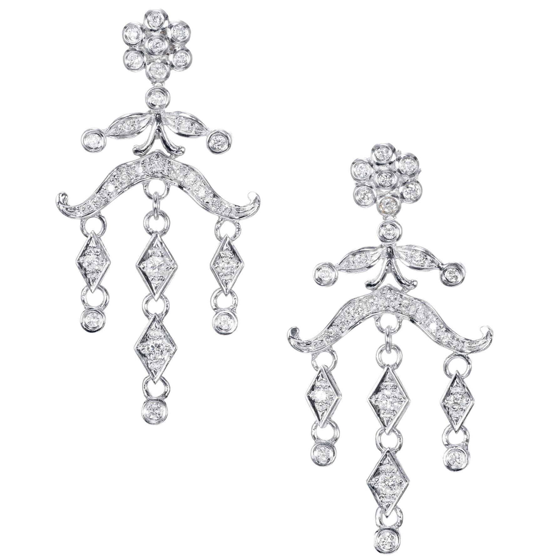 .60 Carat Diamond Chandelier Dangle Drop Earrings