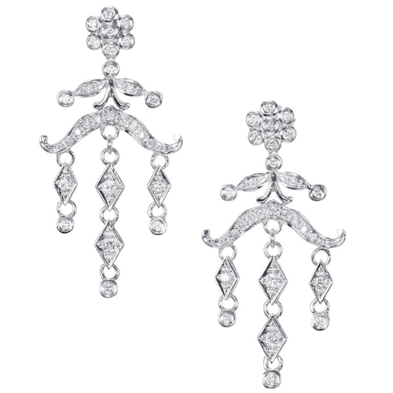 .60 Carat Diamond Chandelier Dangle Drop Earrings For Sale